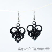 Load image into Gallery viewer, Large Black Chainmail Persian Heart Earrings - Rayven's Chainmaille
