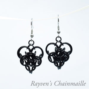 Large Black Chainmail Persian Heart Earrings - Rayven's Chainmaille