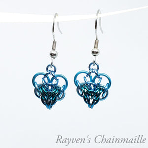 Rayven's Chainmaille| Teal & Turquoise Heart Earrings