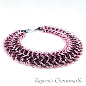 Pink & Black Elf Sheet Chainmaille Bracelet - Rayven's Chainmaille