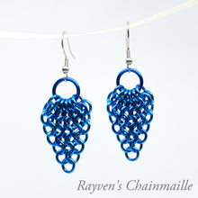 Load image into Gallery viewer, Blue Gathered Euro Chainmaille Earrings