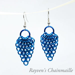 Blue Gathered Euro Chainmaille Earrings