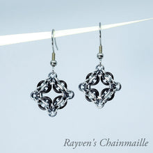 Load image into Gallery viewer, Rayven's Chainmaille| Black Ice & Silver Celtic Labyrinth Chainmaille Earrings