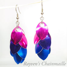 Load image into Gallery viewer, Rayven's Chainmaille| Bisexual Scale Chainmaille Earrings