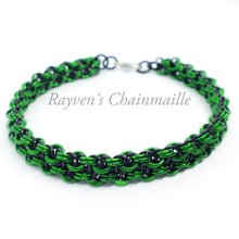 Load image into Gallery viewer, Black and Green Vipera Berus Chainmaille Bracelet - Rayven's Chainmaille