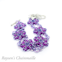 Load image into Gallery viewer, Violet & Lavender Celtic Flower Chainmaille Bracelet - Rayven's Chainmaille