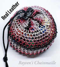 Load image into Gallery viewer, Rayven's Chainmaille| Pink and Black Mega Chainmaille Dice Bag