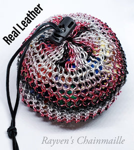 Rayven's Chainmaille| Pink and Black Mega Chainmaille Dice Bag