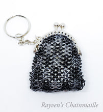 Load image into Gallery viewer, Rayven's Chainmaille| Gray & Black Chainmaille Coin Purse