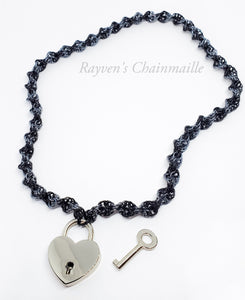 Rayven's Chainmaille| Heart Padlock DNA Chainmail Collar