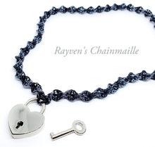 Load image into Gallery viewer, Rayven's Chainmaille| Heart Padlock DNA Chainmail Collar