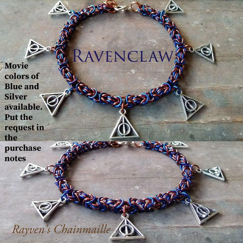 Harry Potter Ravenclaw Byzantine Deathly Hallows Charm Bracelet - Rayven's Chainmaille