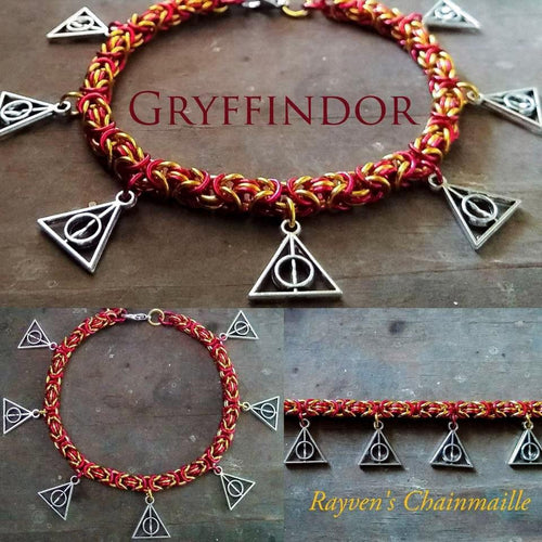 Rayven's Chainmaille| Harry Potter Gryffindor Deathly Hallows Charm Bracelet