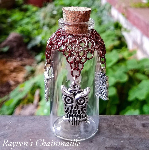 Rayven's Chainmaille| Owl Charm Chainmaille Wishing Bottle