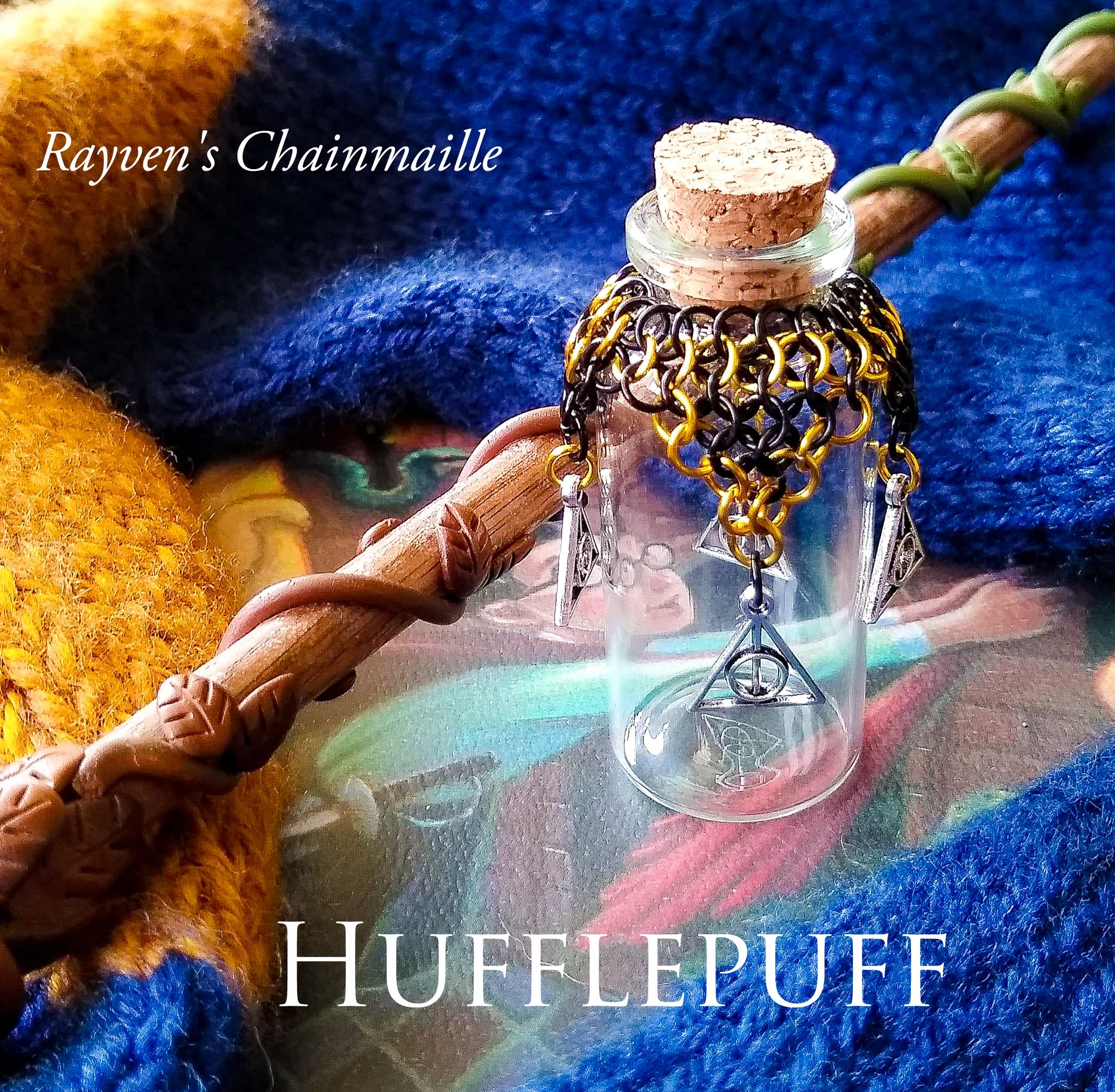 Rayven's Chainmaille| Harry Potter Hufflepuff House Chainmaille Potion Bottles