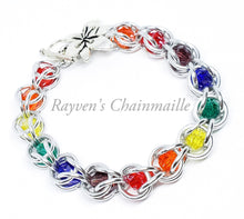 Load image into Gallery viewer, Rayven's Chainmaille| Rainbow Crystal Capture Bracelet