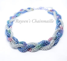 Load image into Gallery viewer, Unicorn Rainbow Foxtail Braided Chainmaille Necklace - Rayven's Chainmaille