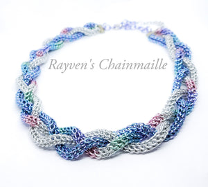 Unicorn Rainbow Foxtail Braided Chainmaille Necklace - Rayven's Chainmaille