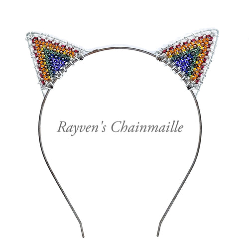 Rainbow Cat Ears Chainmaille Headband - Rayven's Chainmaille