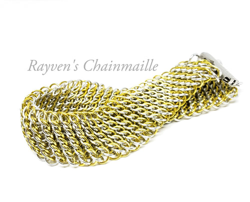 Gold & Silver GSG Sheet Chainmaille Bracelet - Rayven's Chainmaille