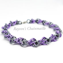 Load image into Gallery viewer, Rayven's Chainmaille| Matte Purple Double Helix DNA Chainmail Bracelet