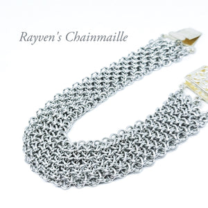 Silver Colored Hoodoo Hex Chainmaille Bracelet - Rayven's Chainmaille