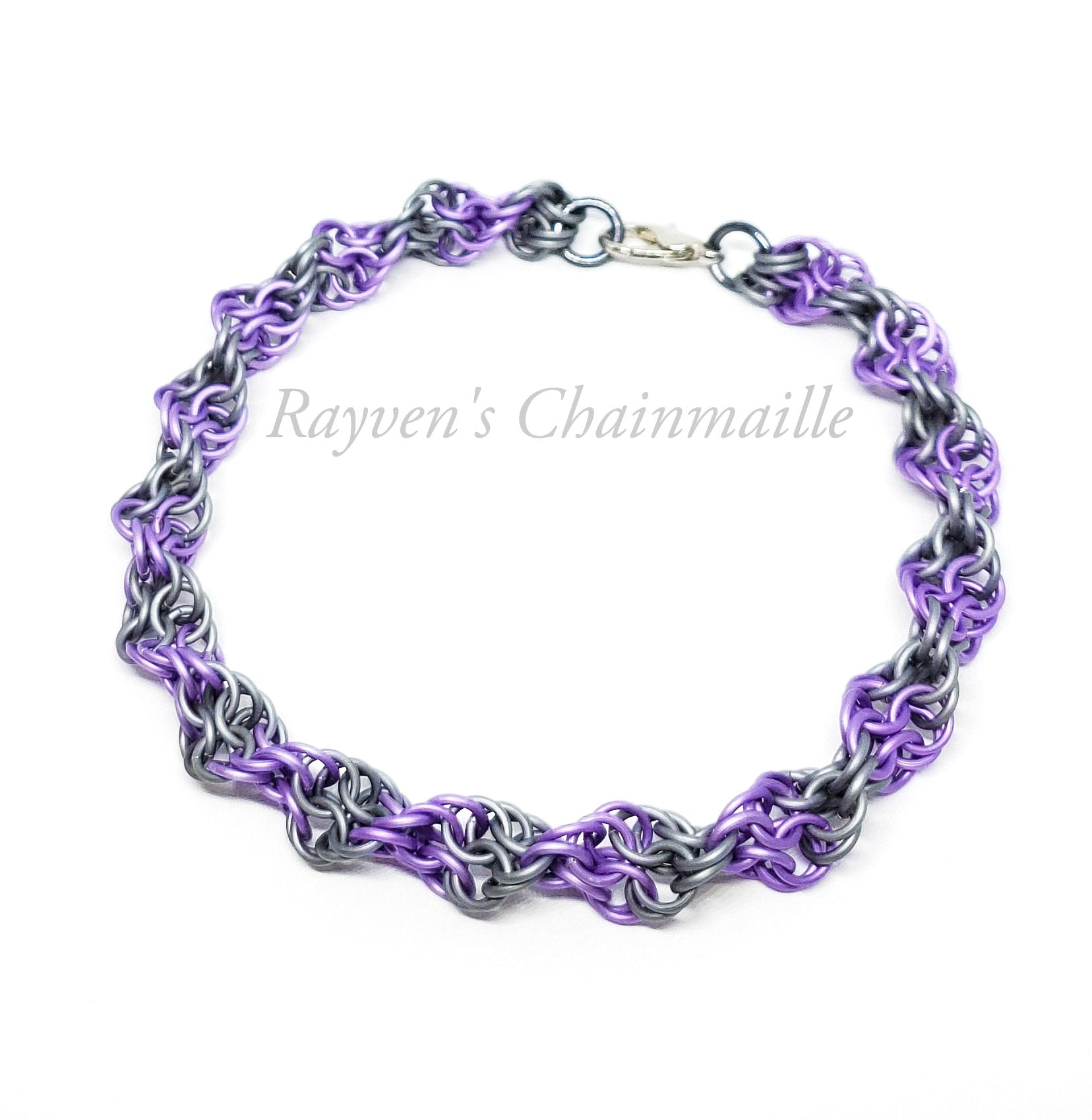 Rayven's Chainmaille| Matte Purple Double Helix DNA Chainmail Bracelet