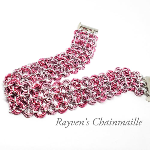 Pink Locked Mobius Chainmaille Bracelet - Rayven's Chainmaille