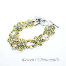 Load image into Gallery viewer, Silver & Gold Celtic Flower Chainmaille Bracelet - Rayven's Chainmaille