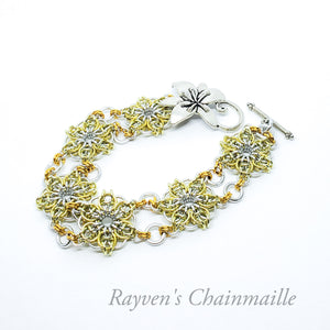 Silver & Gold Celtic Flower Chainmaille Bracelet - Rayven's Chainmaille
