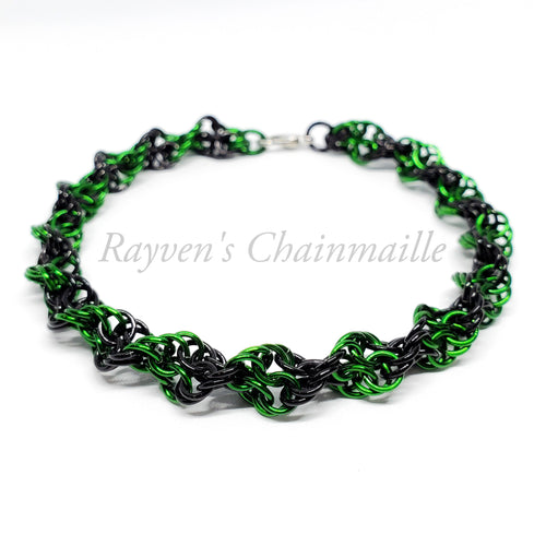 Green & Black Double Helix Chainmaille Bracelet - Rayven's Chainmaille