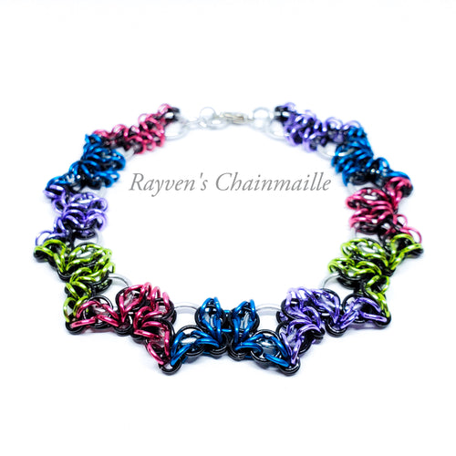 Green, Purple, Blue, & Pink Butterfly Chainmaille Bracelet - Rayven's Chainmaille