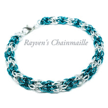 Load image into Gallery viewer, Aqua & Silver Candy Cane Cord Chainmaille Bracelet - Rayven's Chainmaille