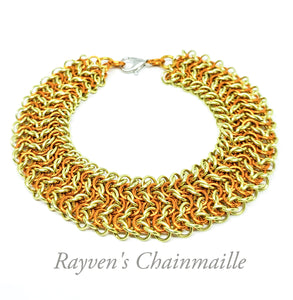 Gold & Yellow Elf Sheet Chainmaille Bracelet - Rayven's Chainmaille