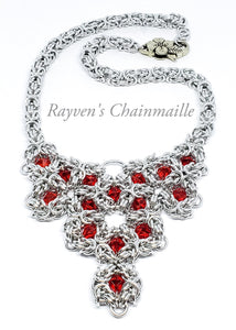 Romanov Silver Byzantine Necklace with Red Swarovski Crystals - Rayven's Chainmaille