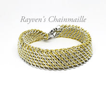 Load image into Gallery viewer, Gold & Silver GSG Sheet Chainmaille Bracelet - Rayven's Chainmaille