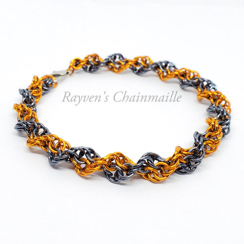 Rayven's Chainmaille| Orange & Gunmetal Double Helix Chainmail Bracelet