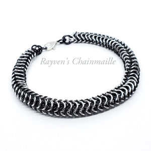 Black & Silver Chainmaille Box Weave Bracelet - Rayven's Chainmaille