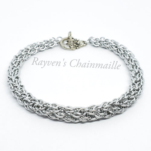 Rayven's Chainmaille| Silver Candy Cane Cord Chainmail Bracelet