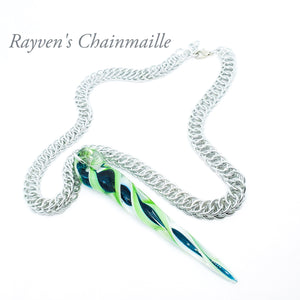 Foxtail Blown Glass Chainmaille Necklace