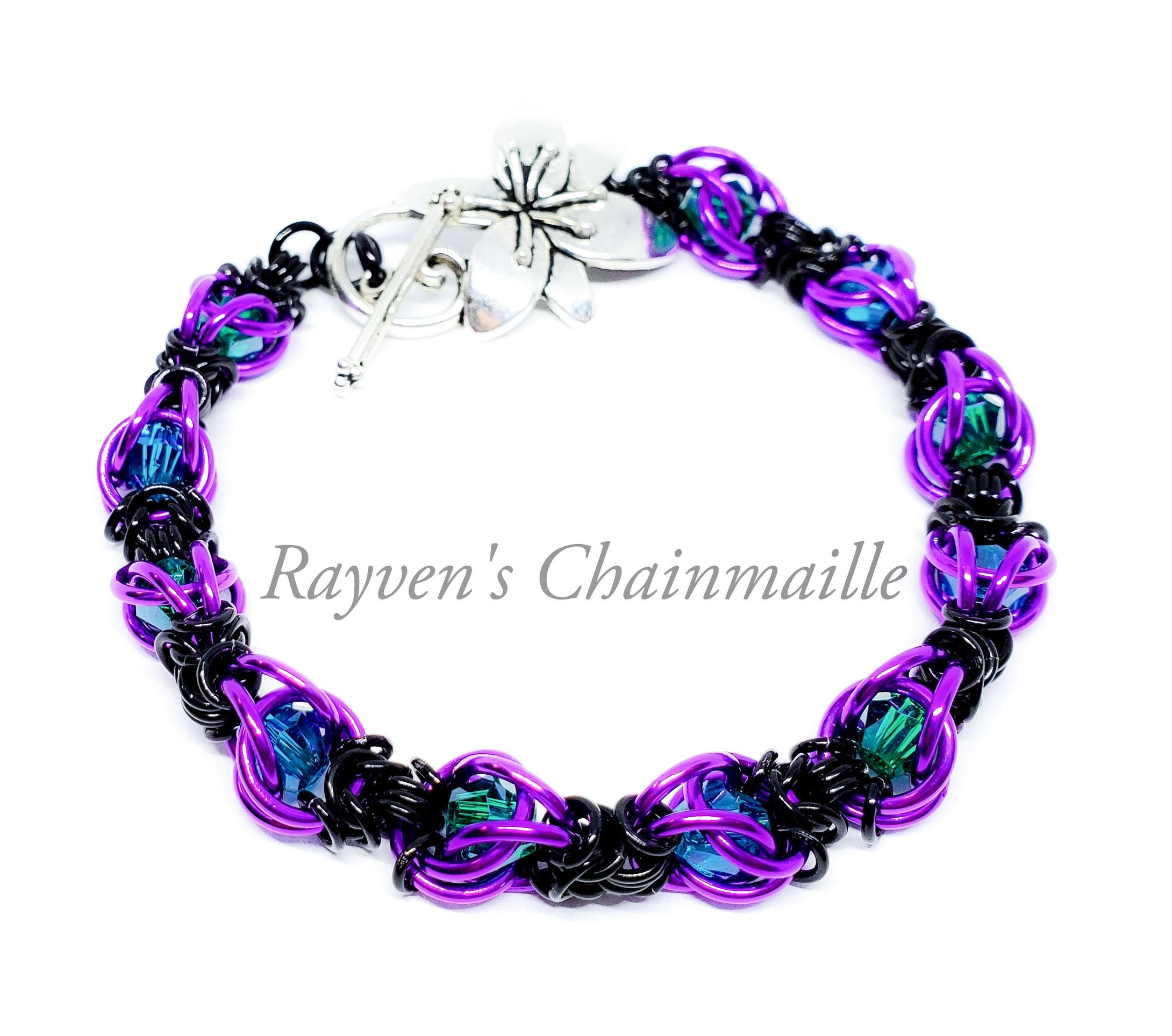 Violet, Black & Teal Captured Crystal Chainmaille Bracelet - Rayven's Chainmaille