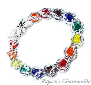 Rayven's Chainmaille| Rainbow Crystal Capture Bracelet
