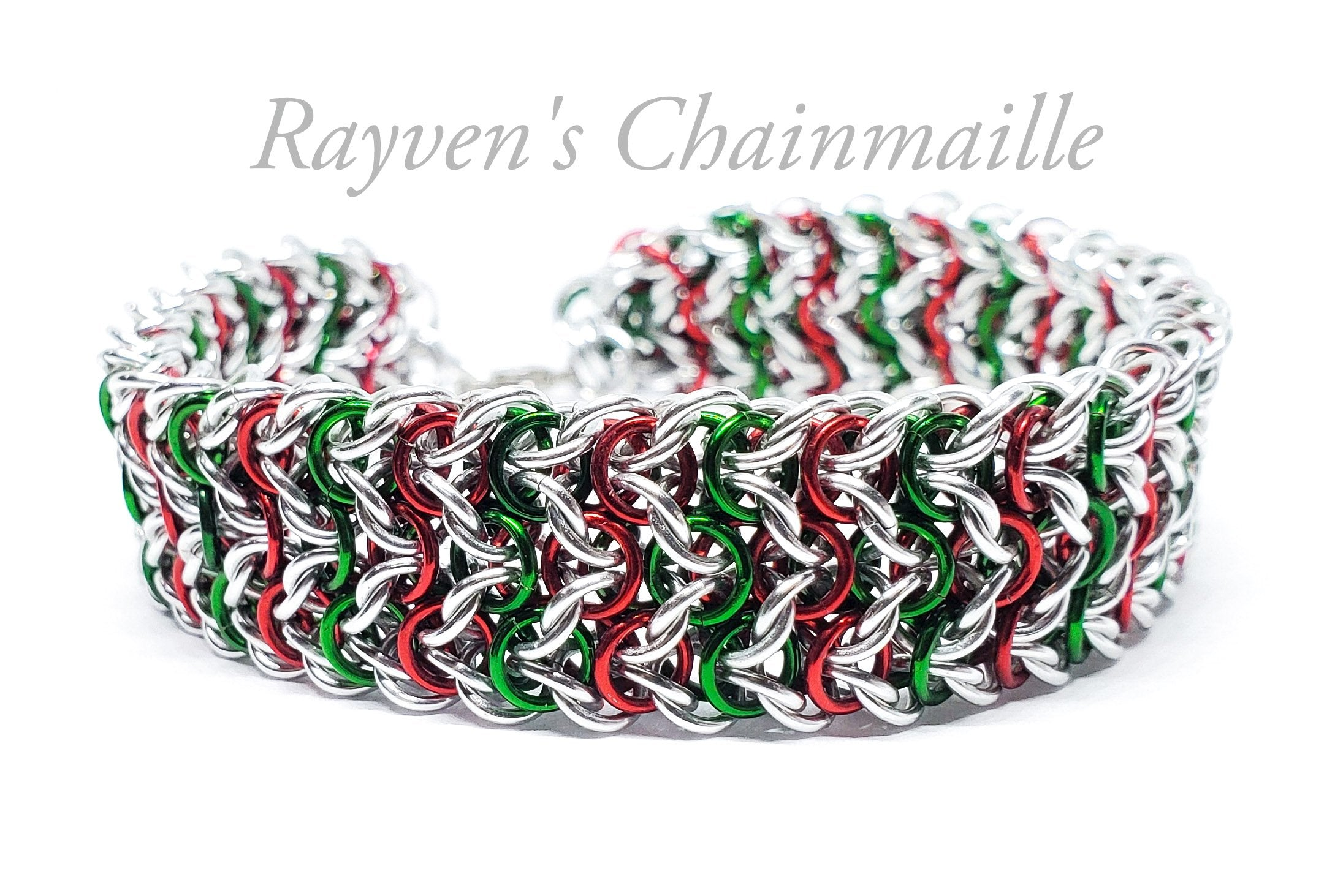 Elf Candy Cane Chainmaille Bracelet