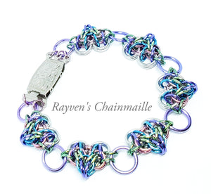 Unicorn Rainbow Many Hearts Foxtail Chainmaille Bracelet - Rayven's Chainmaille