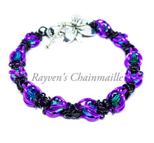 Load image into Gallery viewer, Violet, Black & Teal Captured Crystal Chainmaille Bracelet - Rayven's Chainmaille