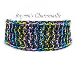 Black Unicorn Rainbow Elf Sheet Chainmaille Bracelet - Rayven's Chainmaille