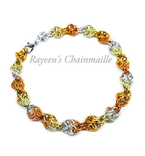 Rayven's Chainmaille| Sunburst Double Helix DNA Chainmail Bracelet
