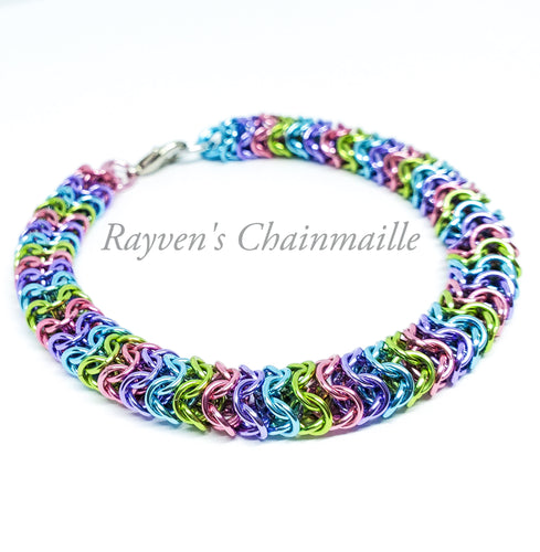 Unicorn Rainbow Chainmaille Box Weave Bracelet - Rayven's Chainmaille