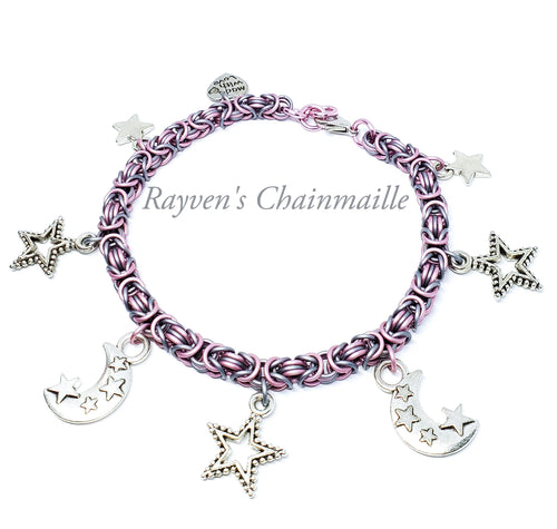 Rayven's Chainmaille| Byzantine Chainmaille Charm Bracelet