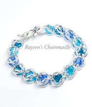 Load image into Gallery viewer, Silver & Blue Captured Crystal Chainmaille Bracelet - Rayven's Chainmaille